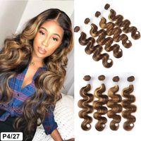 ishow wefts 스트레이트 하이라이트 4/27 ombre 컬러 인간의 머리카락 묶음 브라질 바디 웨이브 인도 페루 Virgn 인간의 머리카락 확장