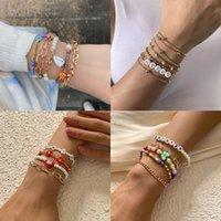 Charm Bracelets Multilayer Fashion Bohemia Chain Handmade Seed Beads Letters Pearls Bangles Jewelry For Women Boho Bracelet