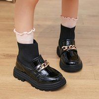 Boots Metal Chain Girls Boys Fashion PU Leather Knitting Patchwork Slip On Kids Socks Shoes Anti Children Ankle 2022
