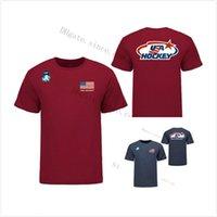 الولايات المتحدة الأمريكية 2021 iihf wjc الذهب الفائز البحرية الابتدائية شعار t-shirt الأحمر قوس ستار شعار القمصان الرياضية