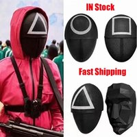 TV Squid Game Masked Man Masks Round Squire Triangle Mask Accessories Delicate Halloween Masquerade Costume Party Props ZZB11128