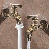 Badkamer Sink Kranen Antiek Messing Wasmachine Water Kraan Muur Mount Long Mop Tap Decoratieve Dragon Outdoor Tuin Retro