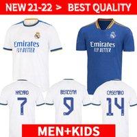Real Madrid Jerseys 21 22 Benzema Soccer Jersey Madric Fans Player الإصدار 2021 20222 Hazard Asensio Casemiro Vinicius Jr. قميص كرة القدم للأطفال أطفال يحدد الزي الرسمي
