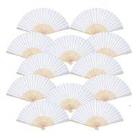 Newhhandheld fãs de papel branco fã dobrada de bambu fãs dobráveis para a igreja casamento festa favores diy ewf7565