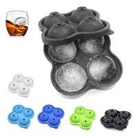 Multifuncional fabricante 4-cavidad bola de silicona cóctel de whisky para bandeja de cubos Molde de hielo herramienta de cocina