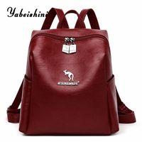 مزدوجة سستة المرأة حقيبة جلدية للفتيات جودة عالية حقائب الكتف مكافحة سرقة ظهره mochila الأنثوية sac a dos الجيش حقيبة m1mi #