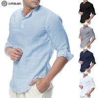 Siperlari camisas de manga larga para hombre de algodón ropa casual transpirable camisa cómoda estilo moda sólido masculino suelto hombres camisas 210310