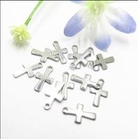 1000pcs Silver Tone Stainless Steel Small Crucifix Cross Charm Pendants Connectors DIY Jewelry Findings For Jewelry Making 12mm*7mm ps1420