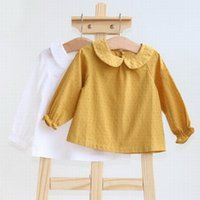 Shirts Baby Girl Top Cotton Long Sleeve Soft Born Undershirts Back Buttons Clothes 0-3Y E8720