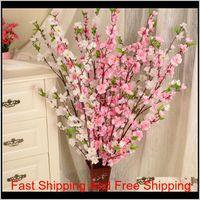 Artificial Cherry Spring Plum Peach Blossom Branch Silk Flower Home Wedding Decorative Flowers Plastic Peach Bouquet 65Cm Hewat Ktpwd