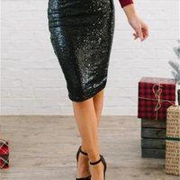بطانة حزمة الورك تنورة مثير إمرأة طول الركبة طول فساتين مستقيمة ضئيلة فساتين الصيف الترتر الصلب يحتوي