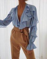 Donne Vintage Blusa Ruffled Blusa Primavera Casual Chiffon Camicia Ruffles Maniche a sospensione a maniche lunghe Camicie da fondo a maniche lunghe Top a V