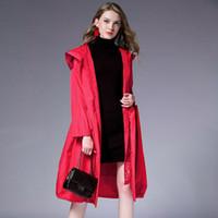 Women's Trench Coats LANMREM 2021 Spring Fashion Lace Hooded Loose Casual Plus Size Long Type Jacket Female's Drawstring Waist Coat YE316