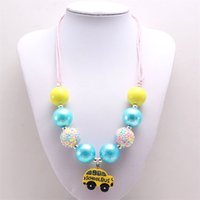 fashion baby chunky bubblegum beads necklace with school bus pendant for girls kids diy rope chain necklace kids gift 1365 B3