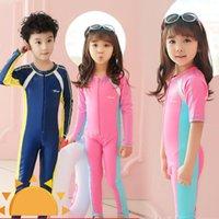 One-Pieces Children One Piece Swimsuit Kids Girls Swimwear Boys Long Short Sleeve Surfing Wear Bathing Suit Baby Sandy Rash Guard 2-14Y