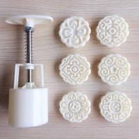 Baking & Pastry Tools 3D Flowers Stamps Moon Cake Decor Mould Barrel Round Mooncake Mold 50g Mooncakes Hand DIY Kitchen Tool