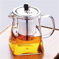 Trasparente teiera del vetro borosilicato con filtro infusore in acciaio inox Trasparente elegante tazza di tè in vetro tazza di tè teiera teiera 304 S2