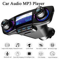 BT06 자동차 키트 FM 송신기 블루투스 핸즈프리 A2DP AUX 오디오 자동차 MP3 플레이어 LCD 디스플레이 1.3 인치 스크린 듀얼 USB 자동차 충전 T10 T11 BC06
