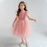 Summer girls lace falbala fly sleeve dresses Spanish style kids beaded gauze princess dress children birthday party clothing Q2859