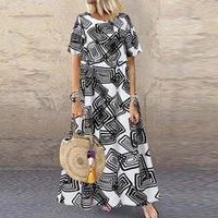 Günlük Elbiseler Bohemian Baskılı Maxi Elbise kadın Yaz Sundress ZANZEA 2021 Kısa Kollu Vestidos Kadın O Boyun Robe