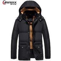 WWKK 2020 Neue Kleidung Winter Daunenjacke Männer Geschäft Lange Dicke Mantel Solide Mode Oberbekleidung Warmer Mann