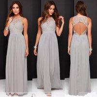 Chiffon Long Bridesmaid Dresses 2021 Cheap Plus Size Bridesmaid Dresses Custom Made See Through Back Blue Gray Bridesmaid Gowns
