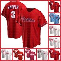 브라이스 필라델피아Phillies Jerseys Harper 17 Rhys Hoskins 27 Aaron Nola Baseball 10 J.T. Realmuto 18 Didi Gregorius 20 Mike Schmidt Men.