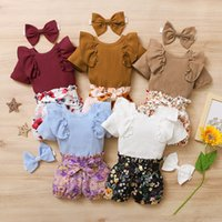 kids Clothing Sets girls outfits infant ruffle Flying sleeve Tops+Flower Floral print Bow shorts+Headband 3pcs sets summer fashion baby Clothes Z3417
