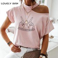 100 % 코 튼 여성 Tshirt 콜드 어깨 짧은 소매 여성 티셔츠 아름다움 뺨 인쇄 심장 고삐 여름 탑 캐주얼 스트리트웨어 210309