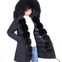 2021 Классическая черная лиса меховая отделка и плаката мамаоконг белый вниз наполнение пальто рукава мех вырезать зимние теплые пальто