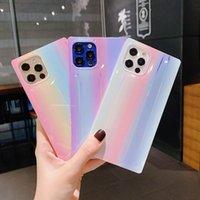 Fluorescente Quadrado Color Phone Casos Arco-íris Moda Celular Capa Gradiente Starry Sky Capa para iPhone 11 Pro X XR XS Max 8 Plus