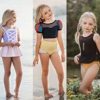 90-140CM Girls Two Piece Swimwear Kids Swimsuit Princess Beachwear Crop Vest Tops And Shorts Mini Skirt Swim Beach Clothing Set Color Matching G609WAN