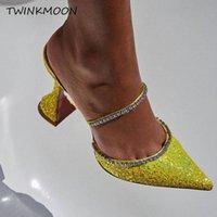 Sandali Butterfly-nodo scivoli estivi Sandalo Sandalo Sandalo Pantofole di seta Donne 10cm Tacchi alti Scarpe Stilotto Runway Satin Sandalias Mujer 2021