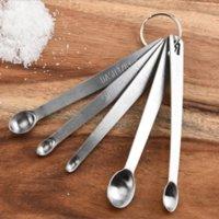 Mini herramienta de cocina de acero inoxidable Sazonador de medición Cuchara de cinco piezas Juego Combinación de hornear 1483 T2