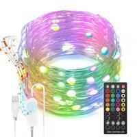 LED Peri Dize Işıkları 10 M Müzik Sync Twinkle Işıkları Uzaktan Kumanda ile USB Powered Çok Renkli Bakır Tel Peri