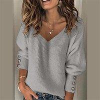 Suéteres para mujer mujeres jersey de punto suéter de punto collar de arco botones sólidos manga de punto casual otoño invierno tops jumper suave cálido tirantes