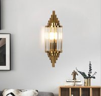 American crystal wall lamp stainless steel gold k9 for living room corridor lighting