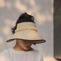 Venta al por mayor- 2016 estilo de moda mujer dama plegable roll up Sun Beach Wide Stray Visor Hat Cap1hat069