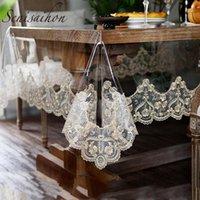 테이블 천으로 PVC 방수 식탁보 황금 레이스 수 놓은 투명한 소프트 유화 식당 홈 거실 차 커버