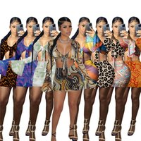 Two Piece Mesh Dresses Women Summer Clothing Long Flare Sleeve Tops Miniskirt Leopard Night Clubwear Sexy Party Dress S-2XL 8colors DHL Ship 5606