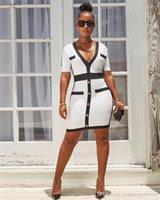 Mode frauen kleid sexy v-neck enge kleid knopf dekorative linie schwarz und weiß passenden beiläufige schlanke weibliche ol kleidung