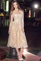 Strapless Lace Prom Dresses with Sash Long Sleeves Jackets Homecoming Party Gowns Tea Length Short Bride Robe De Marrige