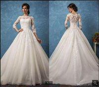 2021 New Arrival white tulle ball gown wedding dress lace appliques 3 4 sleeve modest muslim women elegant bridal gowns floor length vintage princess bride dresses