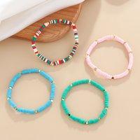 Handgemachte Schmuck Großhandel Farbe Perlen Armband Für Männer Und Frauen Echte Gold Überzogene Perlen Weiche Keramik Handbekleidung Kinderhand Gewebtes Armband