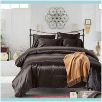 Sets Supplies Textiles Home & Gardensatin Silk Bedding Queen King Set 2 3Pcs Quilt Duvet Er Linens And Pillowcase For Single Double Bed Clot