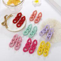 Moda Acrílico Resina Chain Link Charme Brincos Bohemia Candy Color Garanhão Para As Mulheres Rua Snap Vestido Jóias Menina Presente