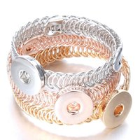 New Snap Jewelry 12mm 18mm Rose Gold Silver Color Button Snap Button Brazalete Brazalete Tamaño ajustable Pulsera para hombres WOM JLLNQI