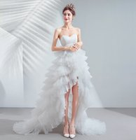 White Hi-Lo Tiered Skirts Evening Dress Strapless Backless Sweep Train Lace Pageant Dresses for Photography Runway Fashion