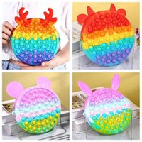 Novel Cool Rubber Fidget Bubble Poppers Toys Bag Crossbody Fanny Pack Chain Purses Rainbow Cartoon Elk Cat Mouse Chainbag Kids Early Leaning Education Gift G76Y8HE