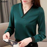 Kadın Bluz Gömlek 2021 Bahar Moda Kadınlar Bluz Uzun Kollu Kore Parlak Şifon Artı Boyutu Üstleri Gömlek Gevşek Blusa XNXEE